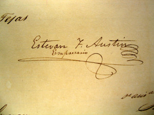 Stephen F. Austin Signature. Texas General Land Office Archives and Records, Austin